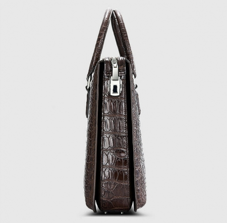 Brown Luxury Alligator Business Briefcase Alligator Laptop Bag for Men-Side