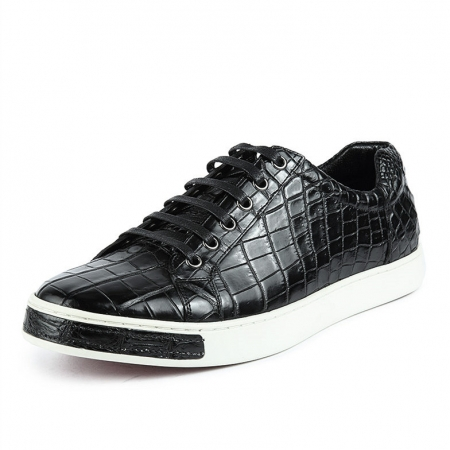 Casual Alligator Leather Lace-Up Sneaker-Black
