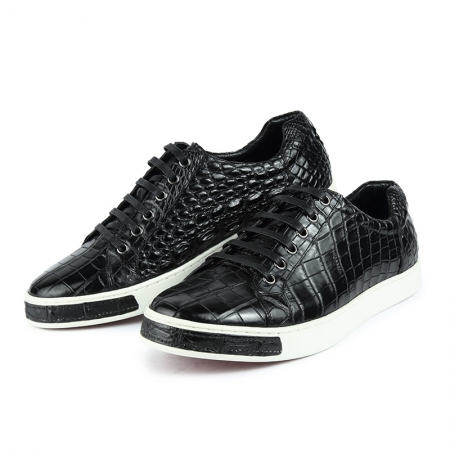 Casual Alligator Leather Lace-Up Sneakers