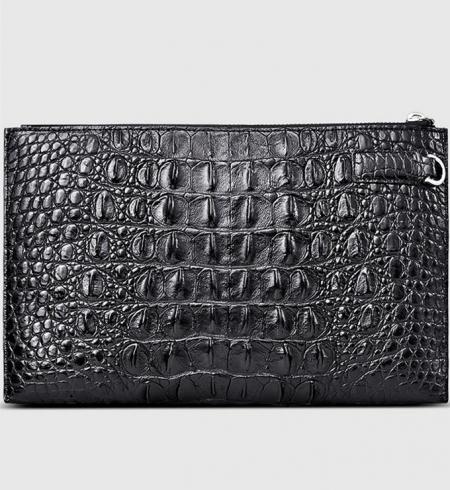 Casual Black Genuine Crocodile Wallet-Back
