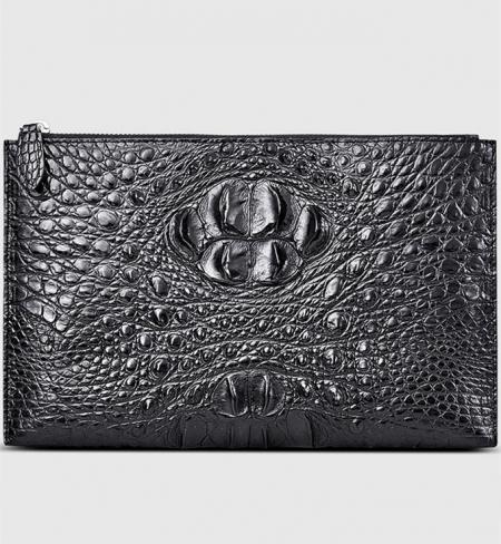 Casual Black Genuine Crocodile Wallet-Front
