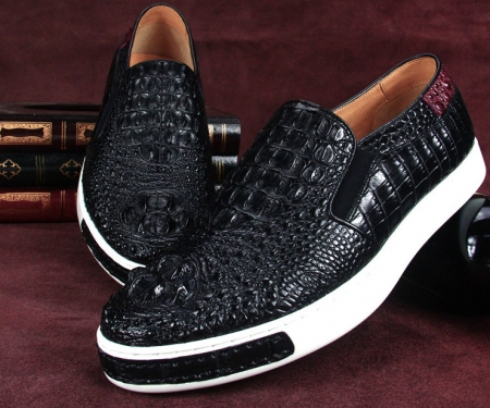 Casual Crocodile Shoes, Black Crocodile Sneakers-Exhibition-3