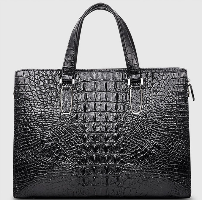 Casual Genuine Crocodile Bag,Crocodile Briefcase Laptop Bag for Men-Back