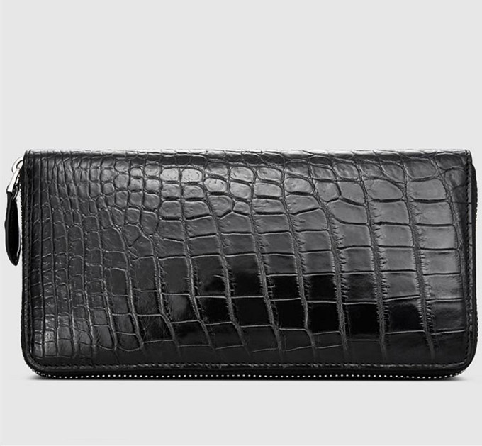 Classic Black Genuine Alligator Wallet-Left