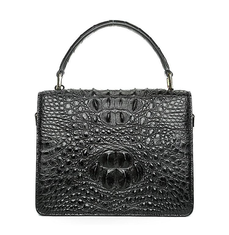 Classic Crocodile Handbag, Crossbody Handbag-Black-Back