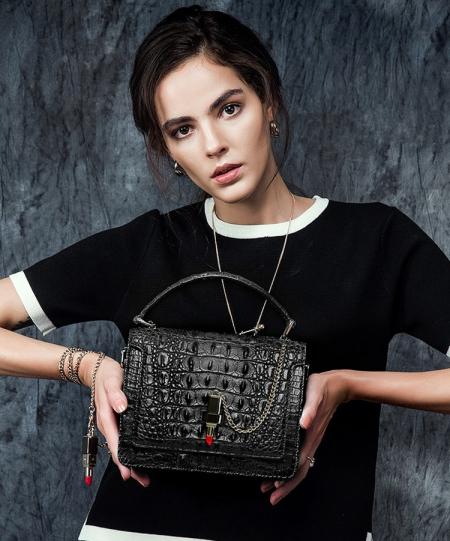 Classic Crocodile Handbag, Crossbody Handbag-Black-Exhibition