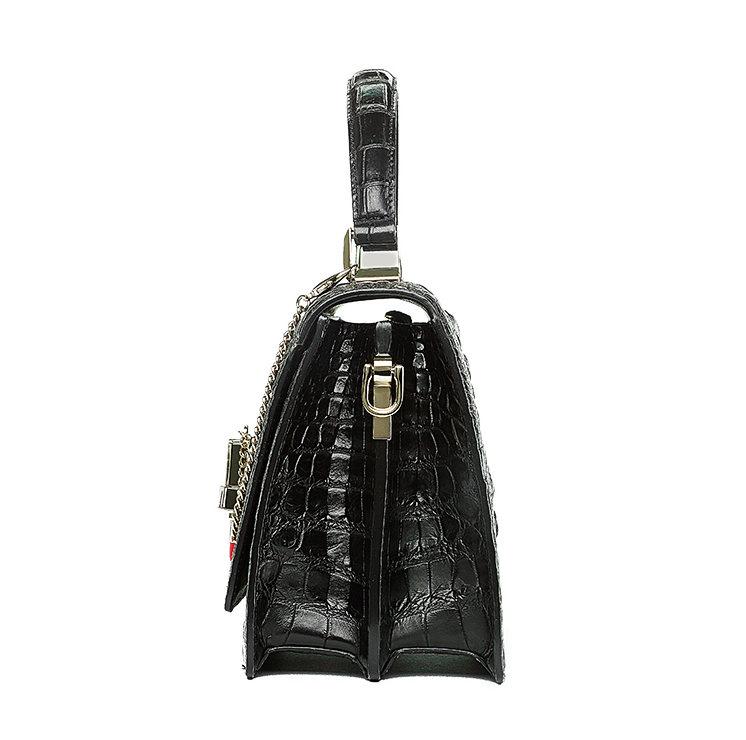 Classic Crocodile Handbag, Crossbody Handbag-Black-Side