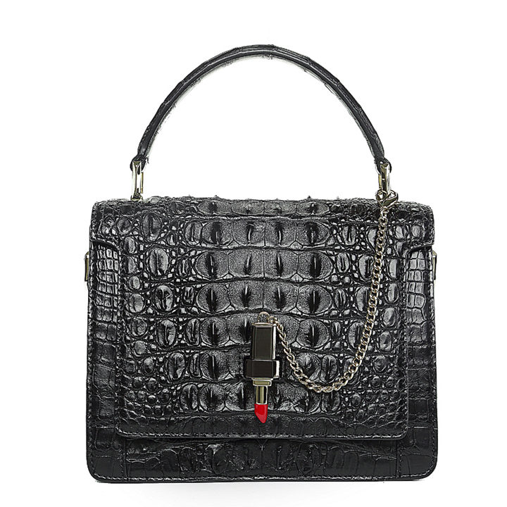 Classic Crocodile Handbag, Crossbody Handbag-Black