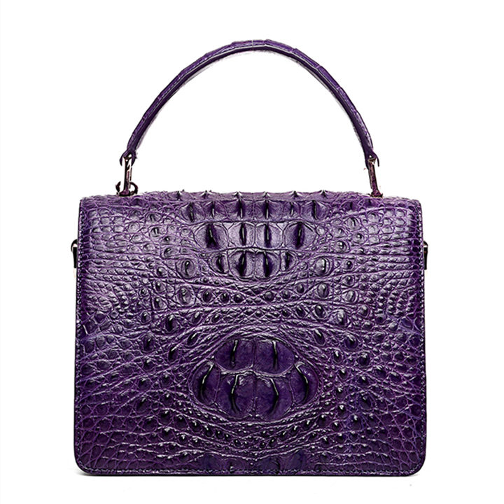 Classic Crocodile Handbag, Crossbody Handbag-Purple-Back