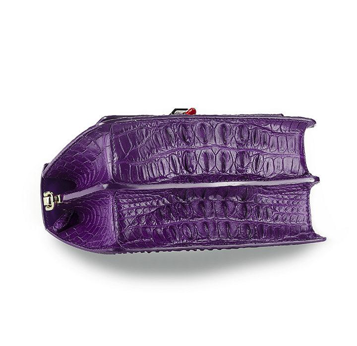 Classic Crocodile Handbag, Crossbody Handbag-Purple-Bottom