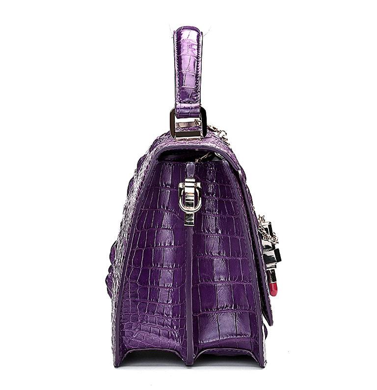 Classic Crocodile Handbag, Crossbody Handbag-Purple-Side