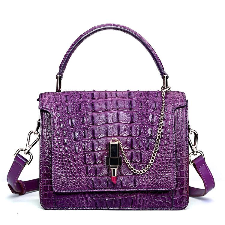 Classic Crocodile Handbag, Crossbody Handbag-Purple