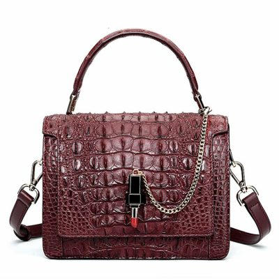 Classic Crocodile Handbag, Crossbody Handbag-Reddish brown