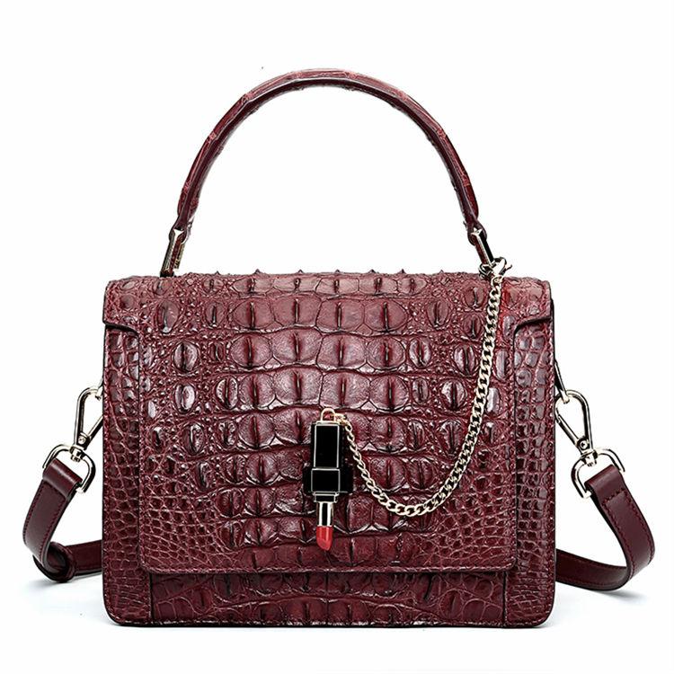 Classic Crocodile Handbag, Crossbody Handbag-Reddish brown