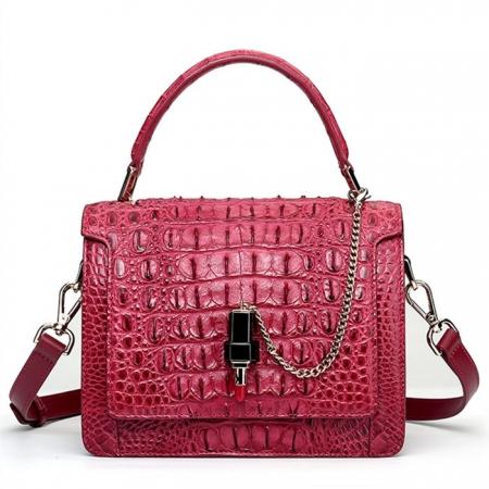 Classic Crocodile Handbag, Crossbody Handbag-red wine