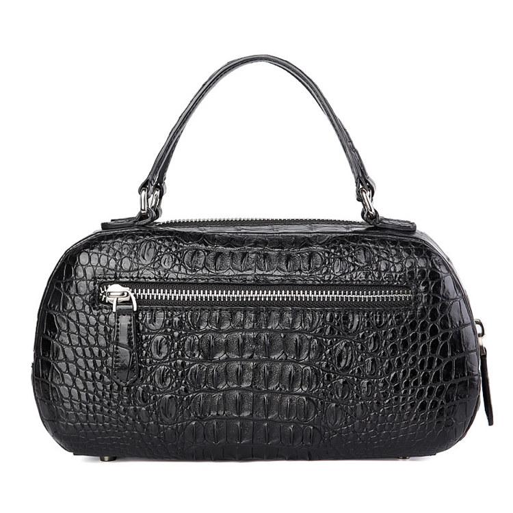 Classic Crocodile Top-Handle Handbag, Crocodile Evening Bag-Back