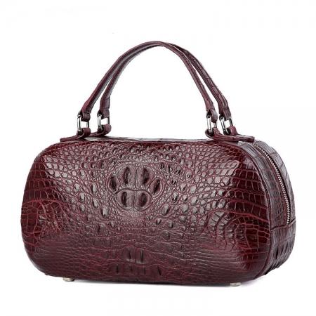 Classic Crocodile Top-Handle Handbag, Crocodile Evening Bag-Wine Red-1