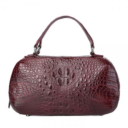 Classic Crocodile Top-Handle Handbag, Crocodile Evening Bag-Wine Red
