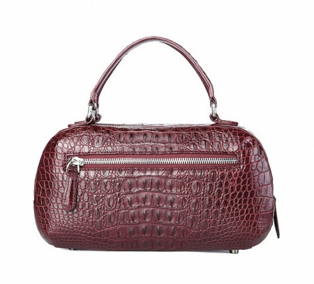 Classic Crocodile Top-Handle Handbag, Crocodile Evening Bag-Wine Red-Back