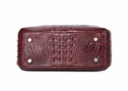 Classic Crocodile Top-Handle Handbag, Crocodile Evening Bag-Wine Red-Bottom