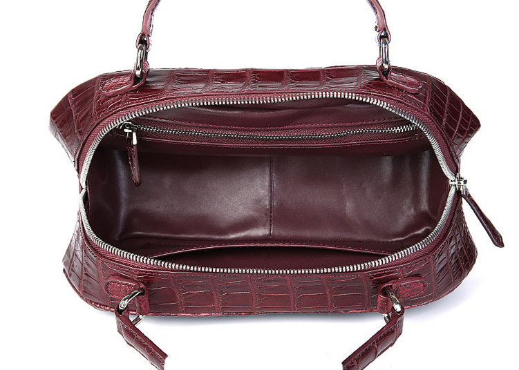 Classic Crocodile Top-Handle Handbag, Crocodile Evening Bag-Wine Red-Inside