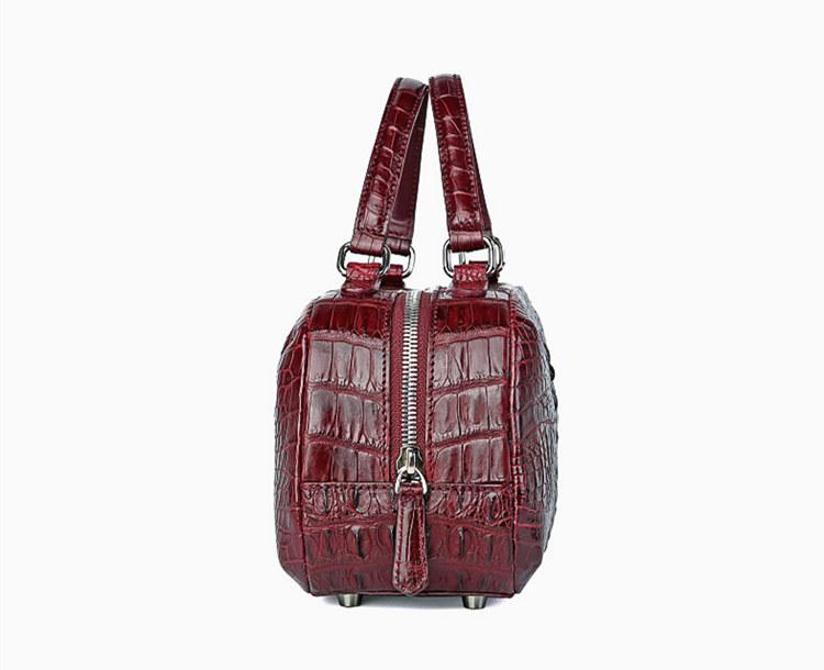Classic Crocodile Top-Handle Handbag, Crocodile Evening Bag-Wine Red-Side