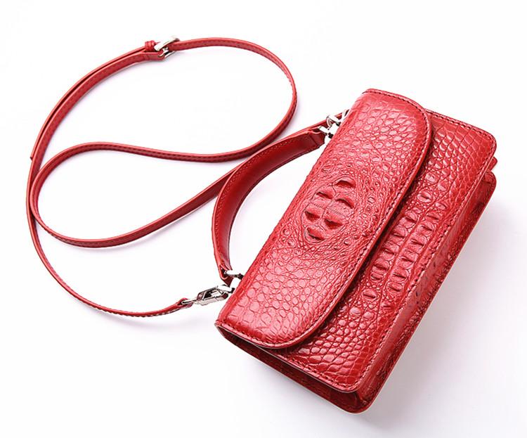 Crocodile Clutch Evening Bag, Handbag, Crossbody Bag-Strap