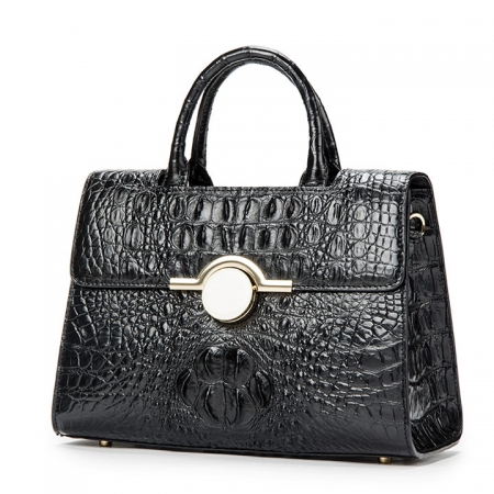 Crocodile Handbag Shoulder Bag Satchel Bag-Black