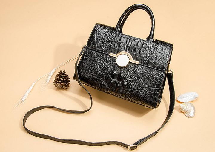 Crocodile Handbag Shoulder Bag Satchel Bag-Black-Exhibition