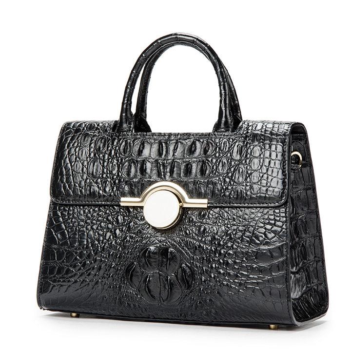 Crocodile Handbag Shoulder Bag Satchel Bag-Black