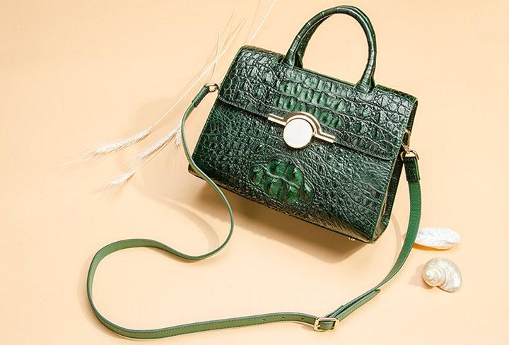 Crocodile Handbag Shoulder Bag Satchel Bag-Dark green-Exhibition