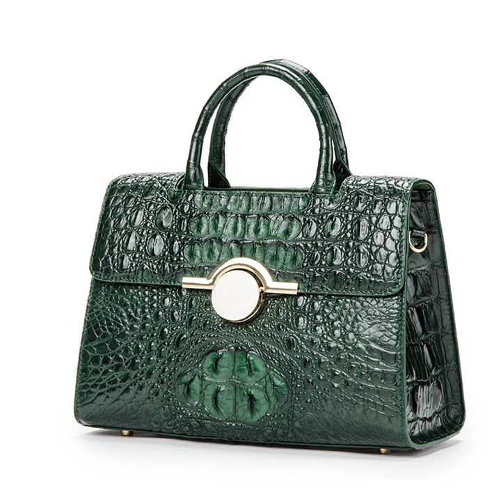 Crocodile Handbag Shoulder Bag Satchel Bag-Dark green