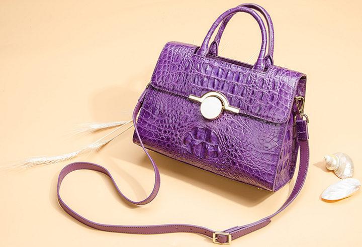 Crocodile Handbag Shoulder Bag Satchel Bag-Purple-Exhibition