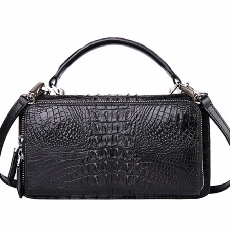 Crocodile Leather Clutch Evening Bag, Small Crocodile Leather Handbag-Back