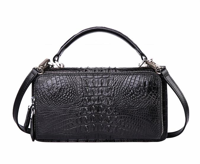 Crocodile Leather Clutch Evening Bag, Small Crocodile Leather Handbag-Back