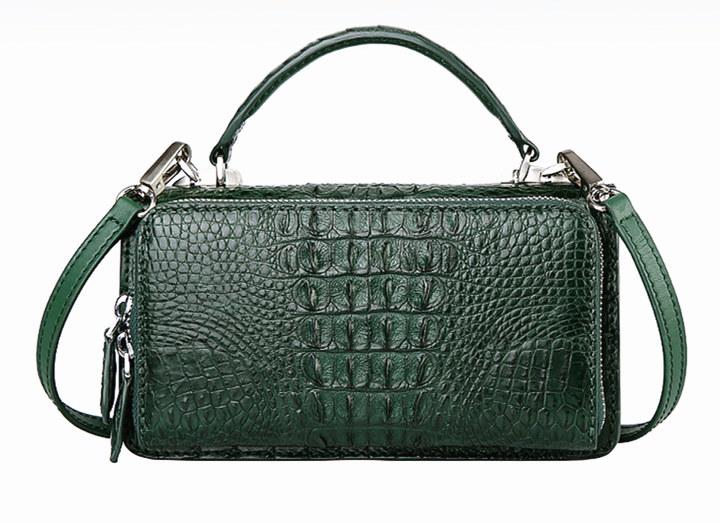 Crocodile Leather Clutch Evening Bag, Small Crocodile Leather Handbag-Drak Green-Back
