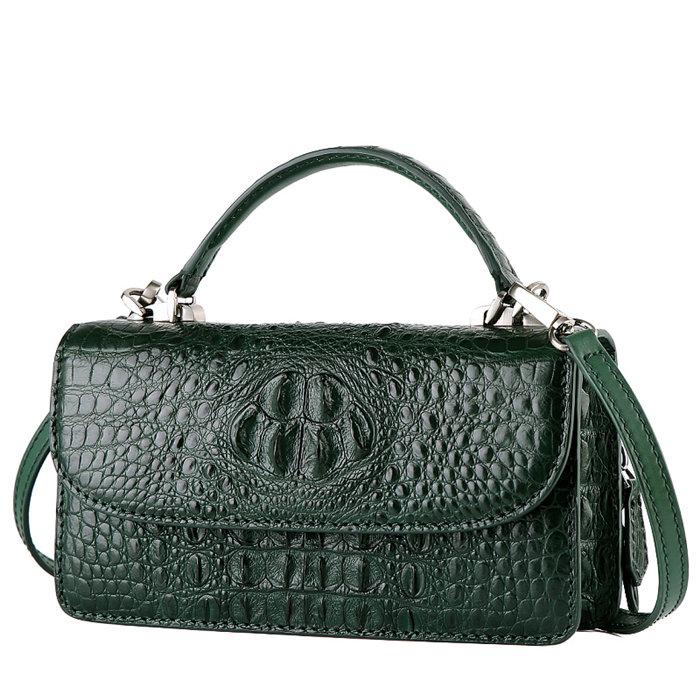 Crocodile Leather Clutch Evening Bag, Small Crocodile Leather Handbag-Drak Green