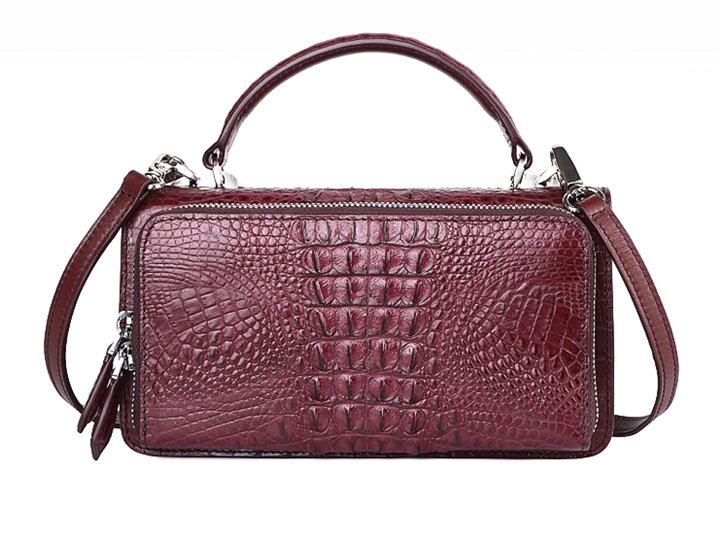 Crocodile Leather Clutch Evening Bag, Small Crocodile Leather Handbag-Wine Red-Back
