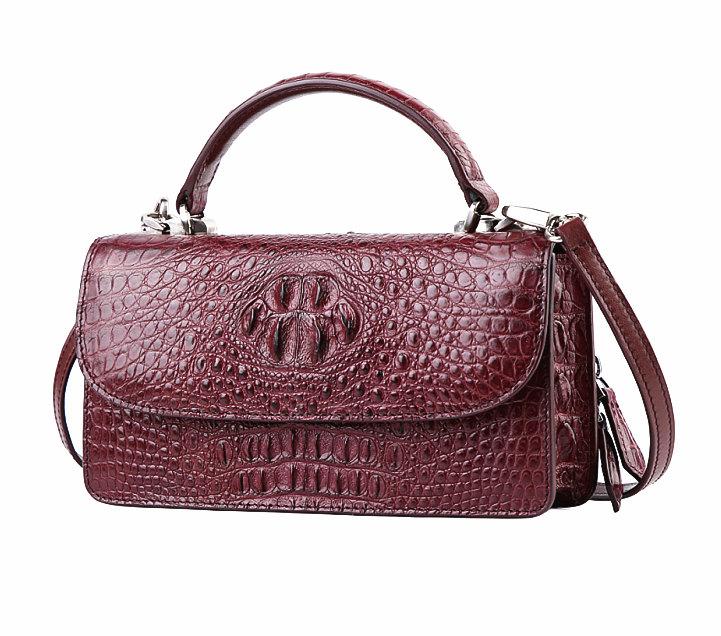 Crocodile Leather Clutch Evening Bag, Small Crocodile Leather Handbag-Wine Red