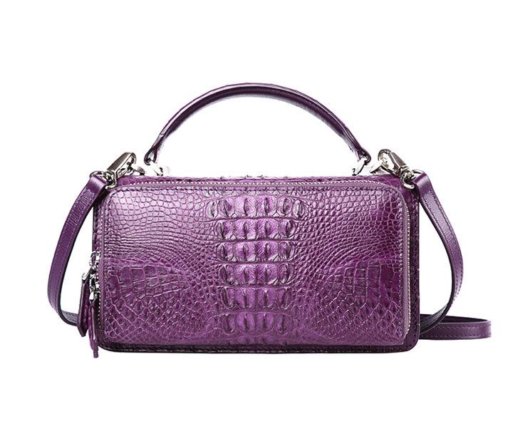 Crocodile Leather Clutch Evening Bag, Small Crocodile Leather Handbag-purple-Back