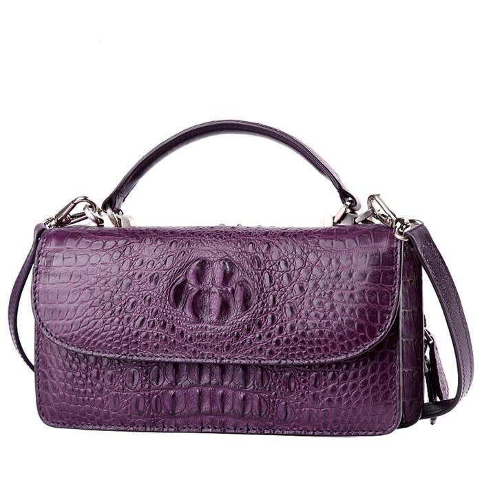 Crocodile Leather Clutch Evening Bag, Small Crocodile Leather Handbag-purple