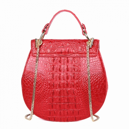 Crocodile Leather Evening Handbag, Crocodile Leather Wrist Bag-Back