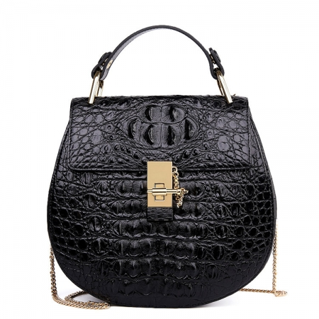 Crocodile Leather Evening Handbag, Crocodile Leather Wrist Bag-Black