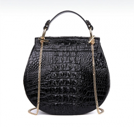 Crocodile Leather Evening Handbag, Crocodile Leather Wrist Bag-Black-Back