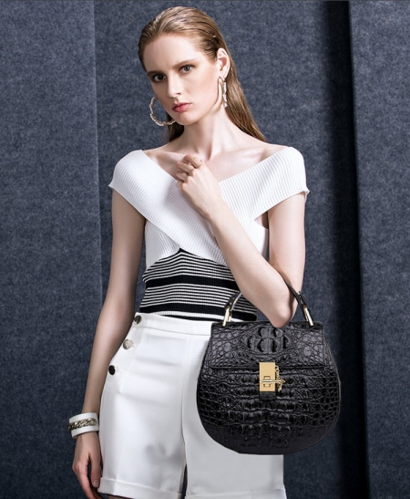 Crocodile Leather Evening Handbag, Crocodile Leather Wrist Bag-Black-Exhibition