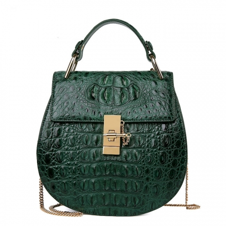 Crocodile Leather Evening Handbag, Crocodile Leather Wrist Bag-Green