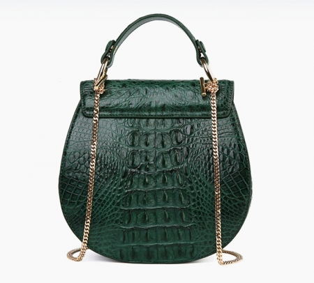 Crocodile Leather Evening Handbag, Crocodile Leather Wrist Bag-Green-Back