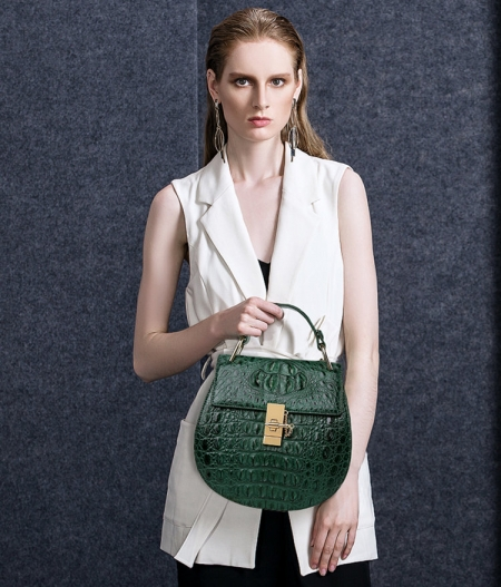 Crocodile Leather Evening Handbag, Crocodile Leather Wrist Bag-Green-Exhibition