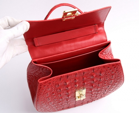 Crocodile Leather Evening Handbag, Crocodile Leather Wrist Bag-Inside