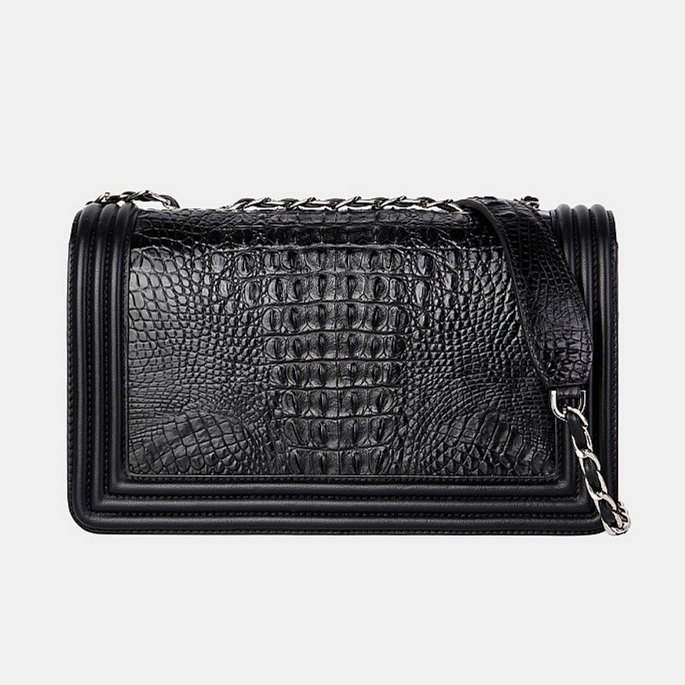 Crocodile Leather Purse, Crocodile Leather Clutch-Back